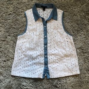 Forever 21 Tops - White and light denim button up top